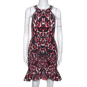 McQ by Alexander McQueen Red & Black Print Sleeveless Bodycon Dress S
