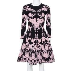 Alexander McQueen Black & Pink Floral Jacquard Knit Skater Dress S