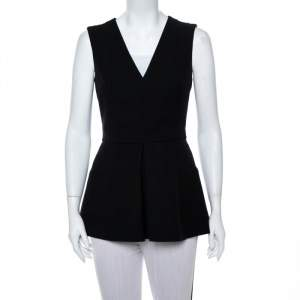 Alexander McQueen Black V Neck Sleeveless Peplum Top M