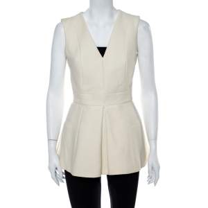 Alexander McQueen Cream V Neck Sleeveless Peplum Top M