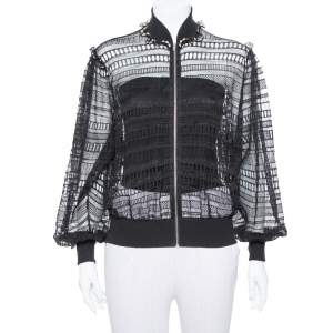 Alexander McQueen Black Lace Sheer Macrame` Jacket M