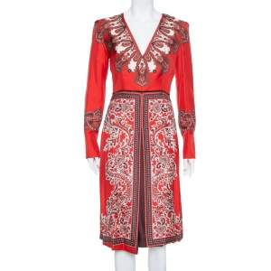 Alexander McQueen Red  Paisley Printed Silk Plunge Neck Midi Dress S