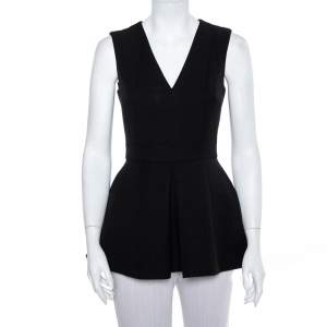 Alexander McQueen Black Wool & Silk Sleeveless Peplum Top S