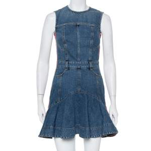 Alexander McQueen Blue Denim Side Stripe Detail Flared Mini Dress S