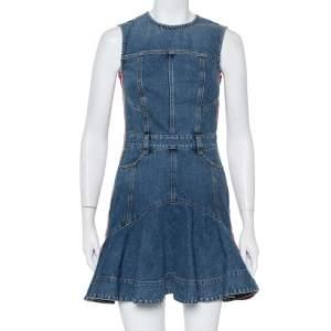 فستان ميني أليكساندر ماكوين دينم أزرق بحياكة جانبية واسعة مقاس صغير - سمول