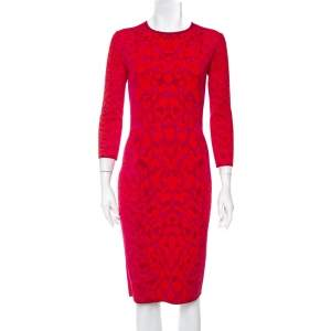 Alexander McQueen Pink and Red Leopard Printed Knit Sheath Dress M