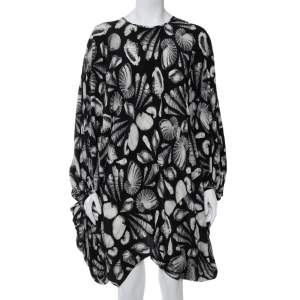 Alexander McQueen Black Shell Printed Silk Oversized Mini Dress M