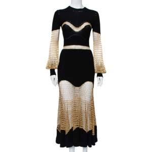 Alexander McQueen Black & Gold Knit & Mesh Paneled Maxi Dress S