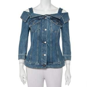 Alexander McQueen Blue Denim Cold Shoulder Jacket M