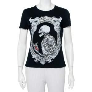 Alexander McQueen Midnight Blue Skeleton Printed Cotton Crewneck T-Shirt S