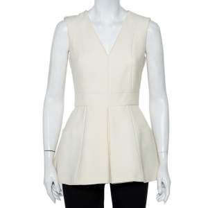 Alexander McQueen Cream Wool & Silk Sleeveless Peplum Top S