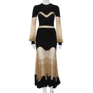 Alexander McQueen Black Knit & Lurex Mesh Maxi Dress M