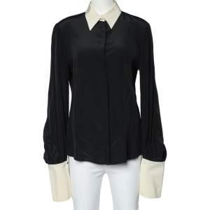Alexander McQueen Black Silk Contrast Collar Long Sleeve Shirt M