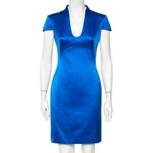 Alexander McQueen Blue Silk Satin Pencil Dress S