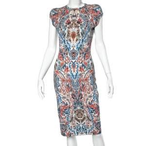 Alexander McQueen Multicolor Printed Wool Sheath Dress L