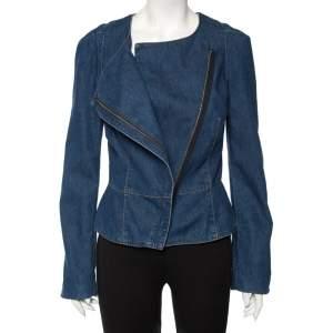 Alexander McQueen Blue Denim Diagonal Zipper Jacket M
