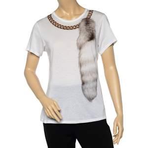 Alexander McQueen White Fur & Chain Print Cotton Crew Neck T-Shirt M