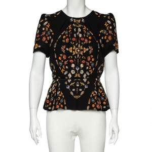 Alexander McQueen Black Obsession Printed Silk Peplum Top M