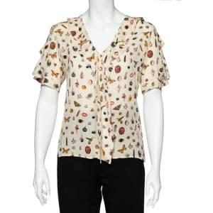 Alexander McQueen Beige Obsession Printed Silk Ruffled Top S