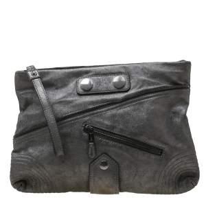 Alexander McQueen Metallic Grey Textured Leather Wristlet Clutch