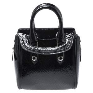 Alexander McQueen Black Patent Leather Mini Heroine Bag
