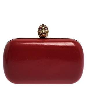 Alexander McQueen Red Patent Leather Skull Box Clutch