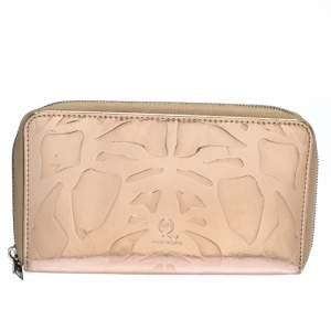 Alexander McQueen Metallic Rose Gold Patent Leather Zip Around Wallet