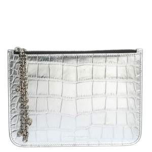 Alexander McQueen Silver Croc Embossed Leather Zip Pouch