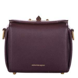 Alexander McQueen Burgundy Leather  Box 16 Bag