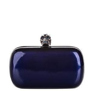 Alexander McQueen Blue Leather Metallic Skull Box Clutch Bag