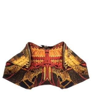 Alexander McQueen Multicolor Printed Satin Medium De Manta Clutch