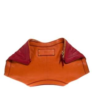 Alexander McQueen Orange/Red Leather Medium Faithful De Manta Clutch
