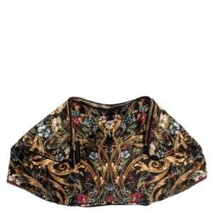 Alexander McQueen Multicolor Floral Print Satin and Leather Medium De Manta Clutch