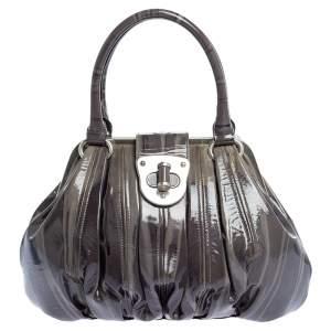 Alexander McQueen Grey Patent Leather Elvie Satchel