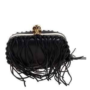 Alexander McQueen Black Leather Fringe Skull Box Clutch