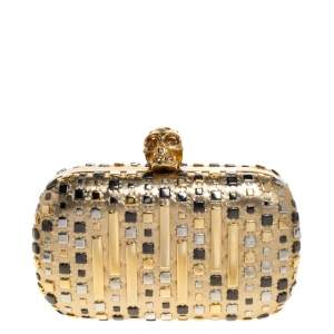 Alexander McQueen Metallic Gold Leather Studded Skull Box Clutch