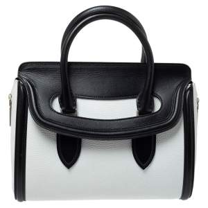 Alexander McQueen Black/White Leather Medium Heroine Satchel