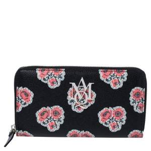 Alexander McQueen Black/Red Floral Print Leather Zip Around Continental Wallet