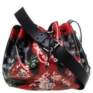 Alexander McQueen Multicolor Floral Print Leather Drawstring Bucket Bag
