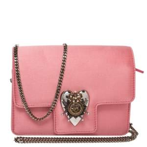 Alexander McQueen Pink Satin Mini Heart Chain Bag