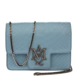 Alexander McQueen Powder Blue Python Mini Insignia Chain Bag