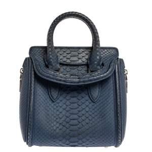 Alexander McQueen Blue Python Mini Heroine Bag