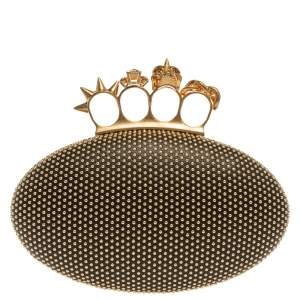 Alexander McQueen Black Leather Studded Knuckle Duster Clutch