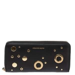 Alexander McQueen Black Leather Eyelet Zip Around Wallet
