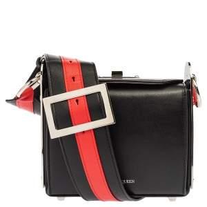 Alexander McQueen Black/Red Leather Box 16 Shoulder Bag
