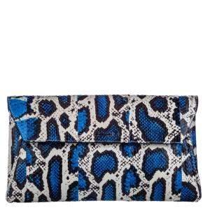 Alexander McQueen Blue Python Leather Clutch Bag