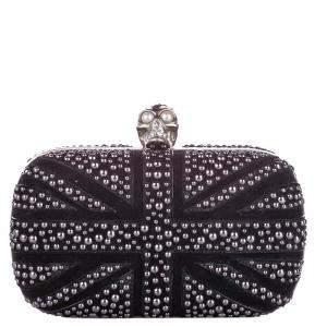 Alexander McQueen Black/Silver Britannia Skull Box Studded Suede Clutch Bag