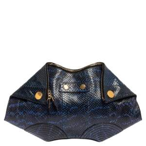 Alexander McQueen Blue Python Medium Faithful De Manta Clutch