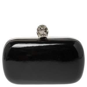 Alexander McQueen Black Patent Leather Skull Box Clutch