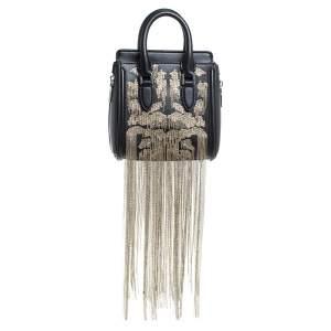 Alexander McQueen Black Leather Mini Fringed Heroine Bag